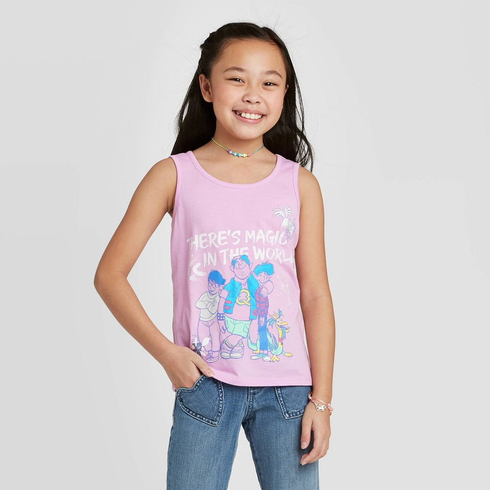 Girls' Disney Onward 'There's Magic in The World' Tank Top - Pink XS, Girl's thumbnail