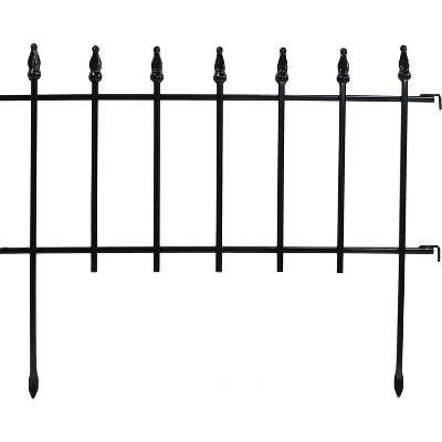 Sunnydaze Outdoor Lawn and Garden Metal Roman Style Decorative Border Fence Panel Set - 36' - Black - 20pk