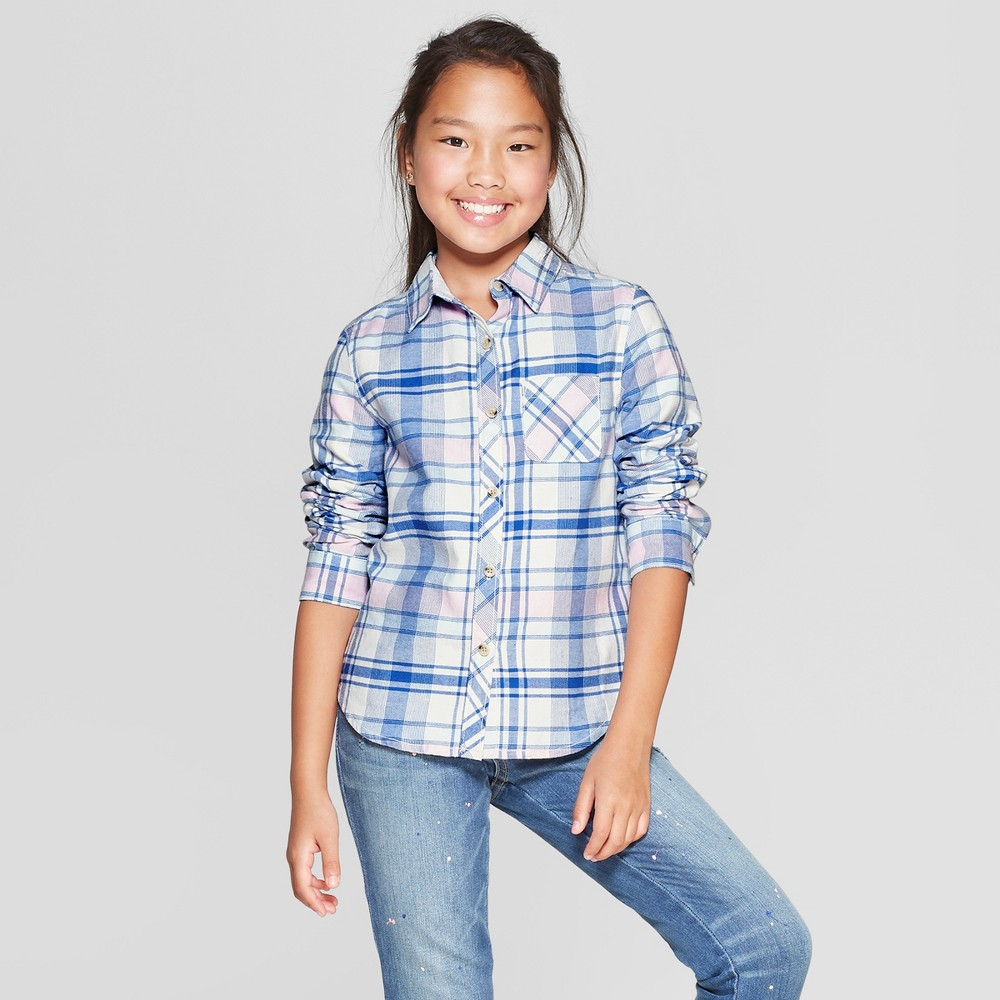 Girls' Woven Long Sleeve Button-Down Shirt - Cat & Jack Blue Xxl