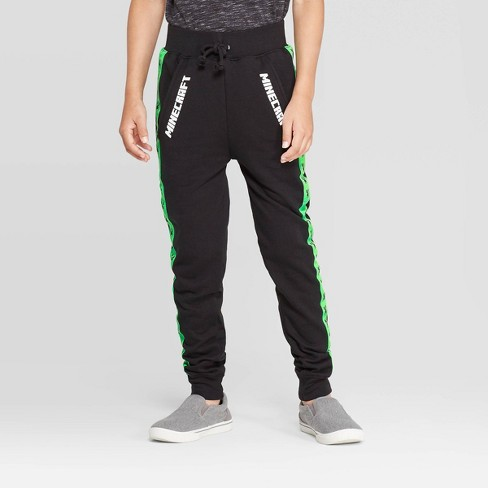 Boys' Minecraft Black Creeper Jogger Pants - Black/Green - image 1 of 3