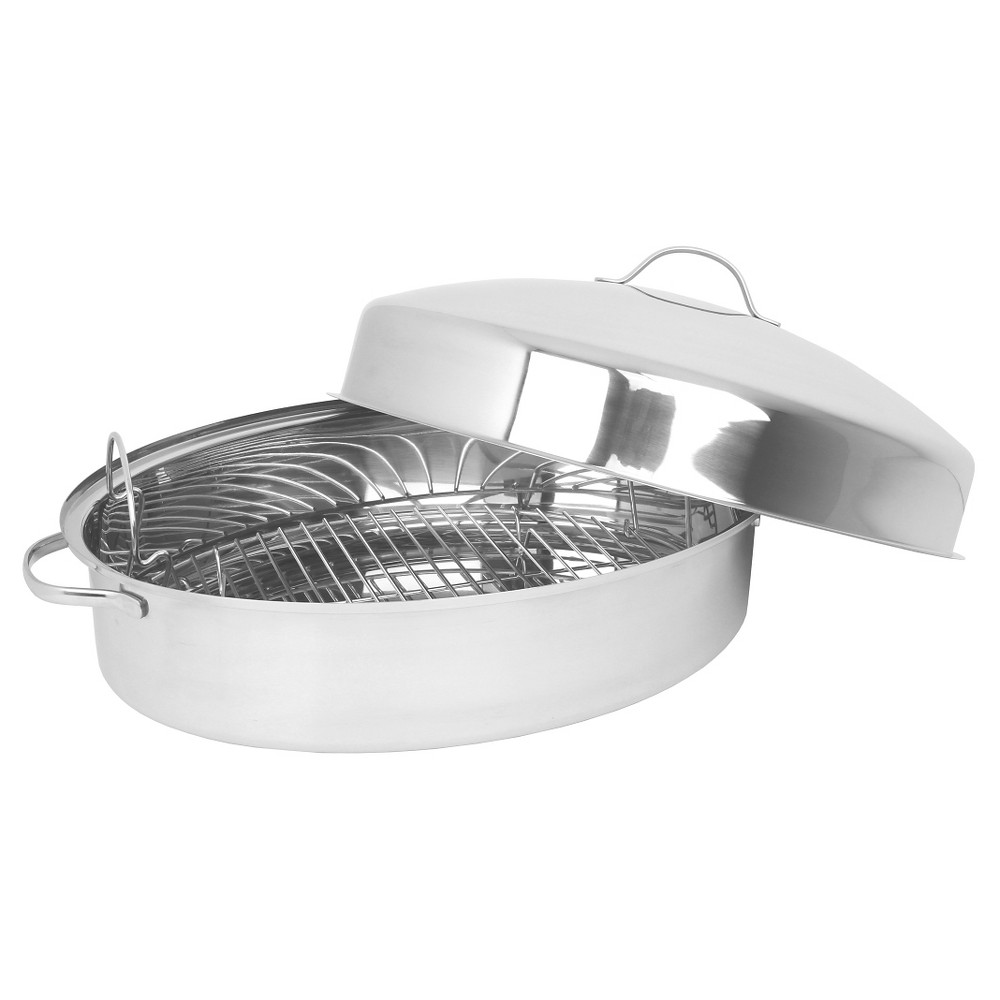 Oneida Stainless Steel Oval Roaster With Doamed Lid And Stainless Steel Wire Rack, Silver
