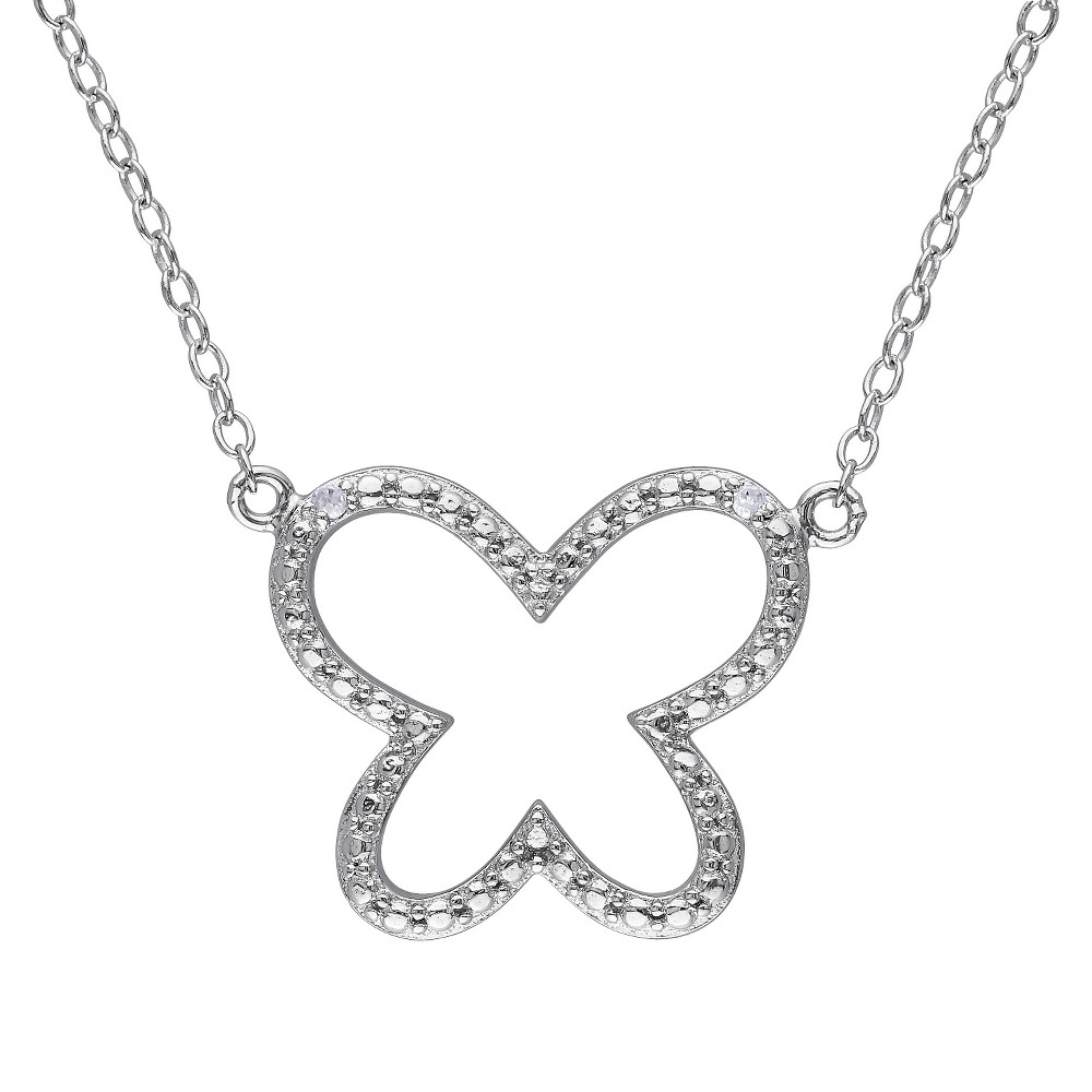 Image of 0.01 CT. T.W. Diamond Butterfly Pendant Necklace in Sterling Silver - HIJ I3 - White, Women's