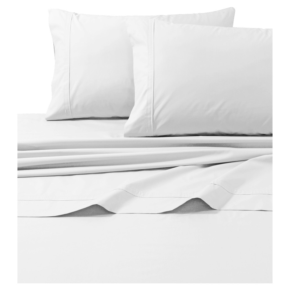 Cotton Percale Solid Sheet Set (California King) White 300 Thread Count - Tribeca Living