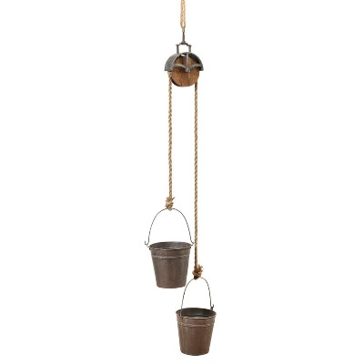 Gerson International 44.5-Inch High Hanging Metal Planter with Rope Pully Mechanism