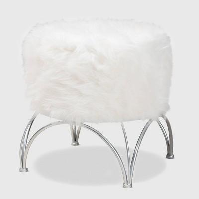Celia Faux Fur Upholstered Silver Metal Ottoman White/Silver - Baxton Studio