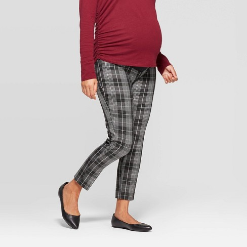 Maternity Plaid Crossover Panel Ankle Pants - Isabel Maternity by Ingrid & Isabel™ Black - image 1 of 4