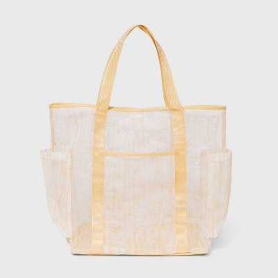Striped Mesh Tote Handbag - Shade & Shore™ Yellow