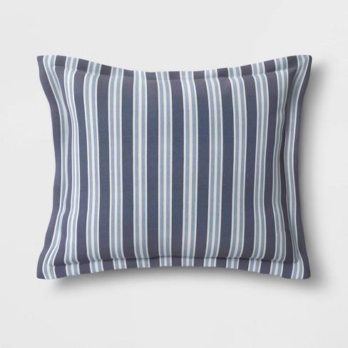 Coastal Stripe Outdoor Deep Seat Pillow Back Cushion DuraSeason Fabric™ Blue - Threshold™ - image 1 of 1