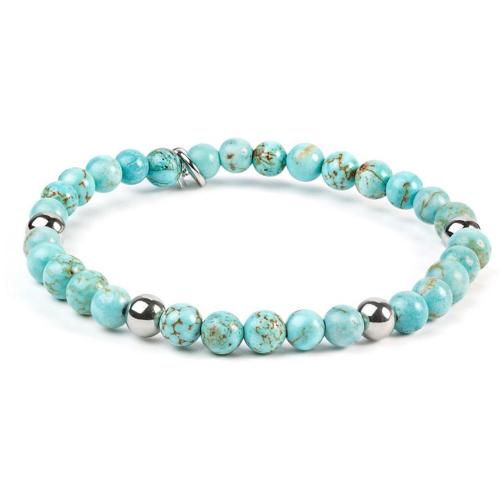 Image of ELYA Stainless Steel Turquoise Beaded Bracelet, Women's, Blue