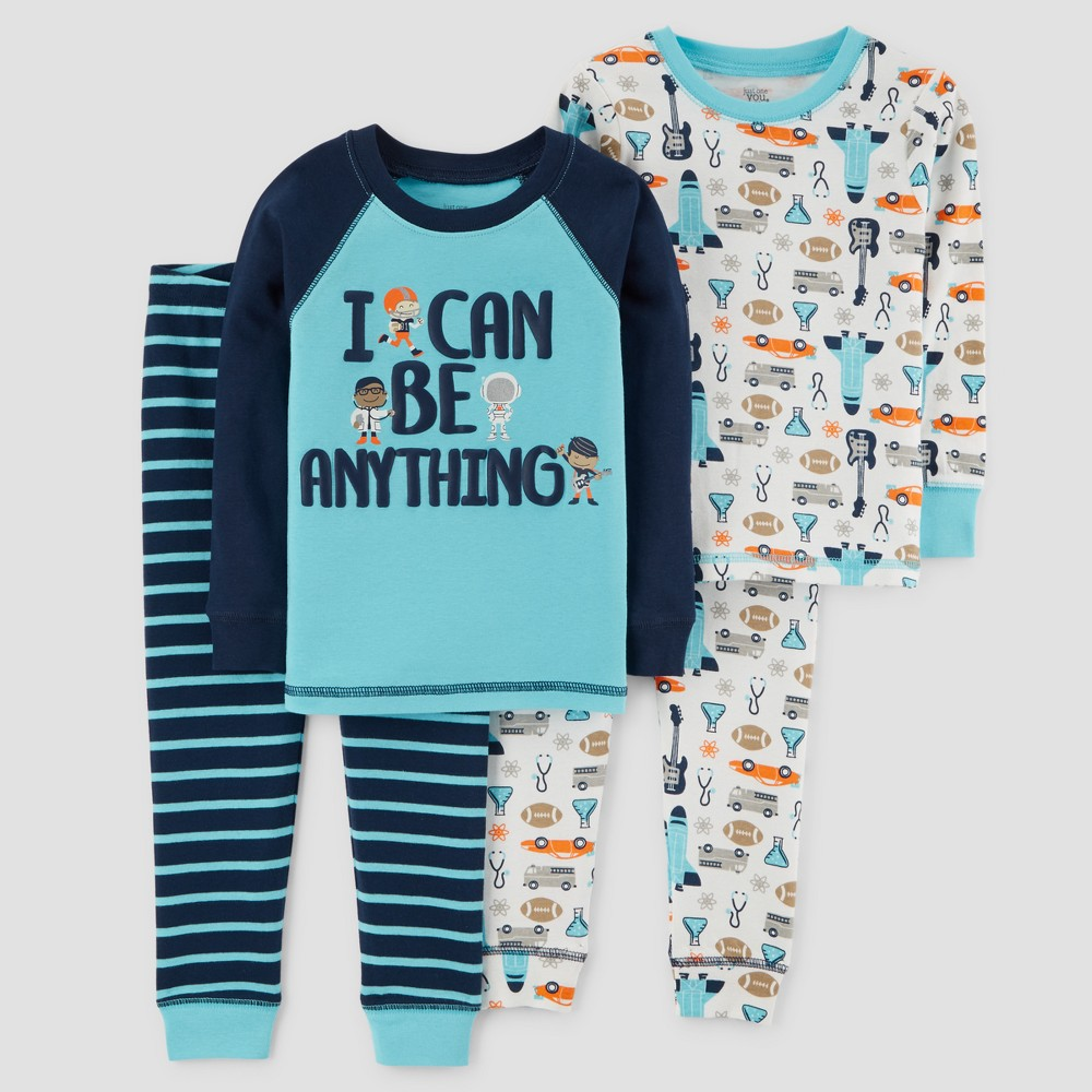 Toddler Boys' 4pc I can Be Anything Long Sleeve Pajama Set - Just One You made by carter's Blue 5T