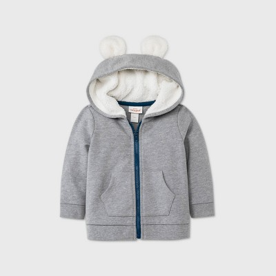 Baby Boys' Bear Layering Sherpa Jacket - Cat & Jack™ Gray 3-6M