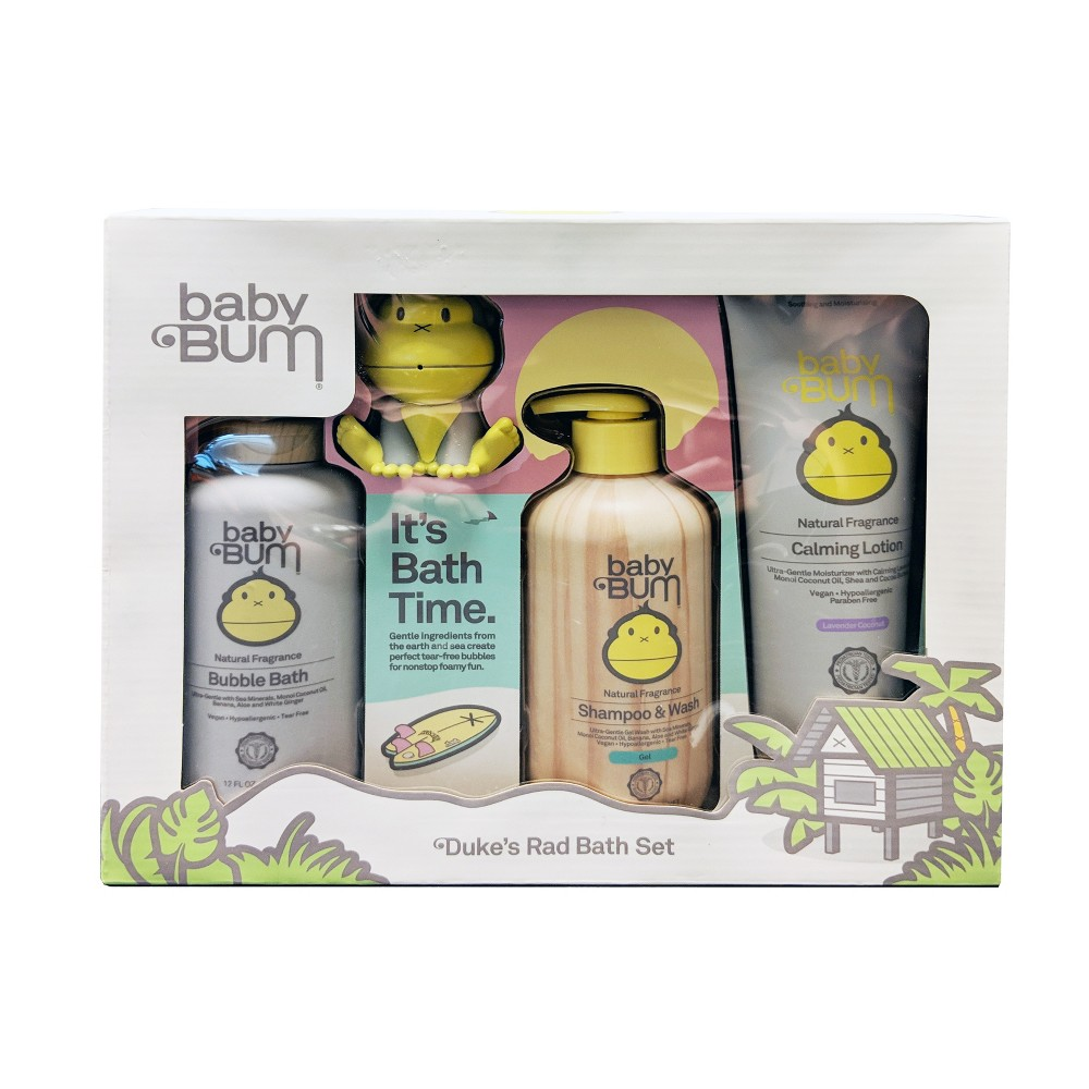 Baby Bum 4pc Baby Bath Time Gift Set, Multi-Colored