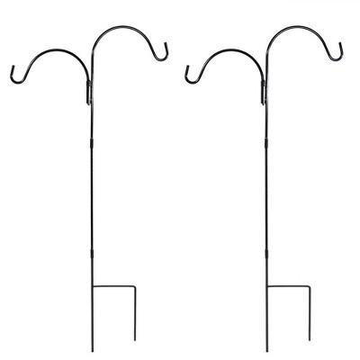 "Sunnydaze Outdoor Heavy-Duty Steel Hanging Bird Feeder Plant Double Shepherd Hooks - 48"" Black - 2pk"