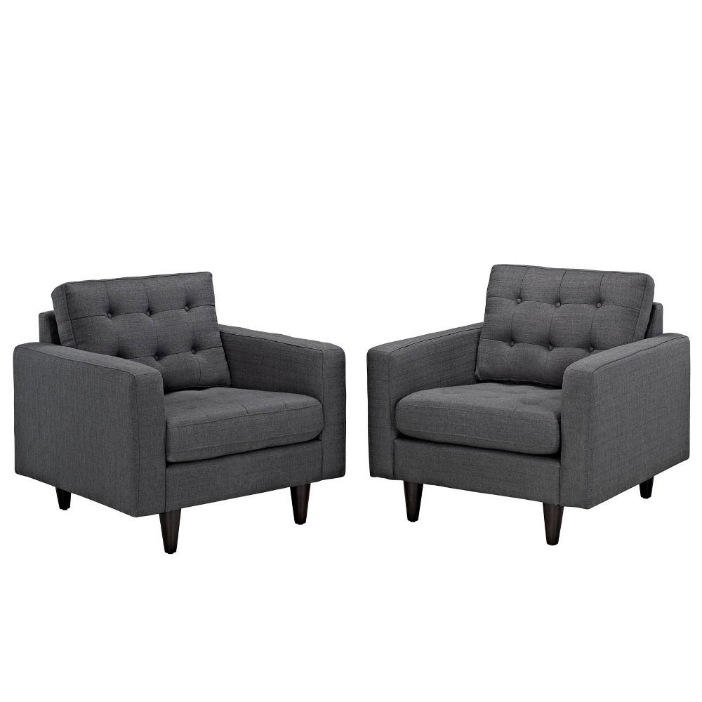 Empress Armchair Upholstered Set of 2 Gray - Modway