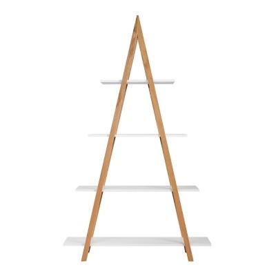 "66.33"" Abacus Ladder Bookshelf Oak and White - Universal Expert"