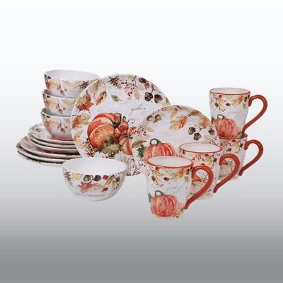 16pc Earthenware Harvest Splash Dinnerware Collection Cream/Orange - Certified International