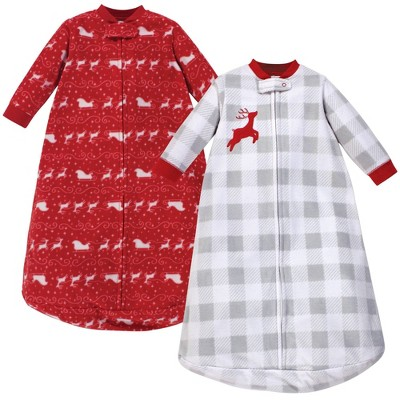 Hudson Baby Unisex Baby Long-Sleeve Fleece Sleeping Bag - Santas Sleigh 0-9M