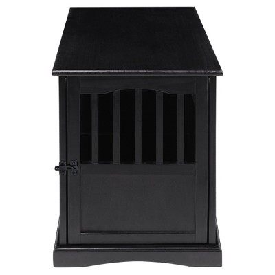 Casual Home Pet Crate End Table w/ Lockable Latch for Medium Sized Pets, Black