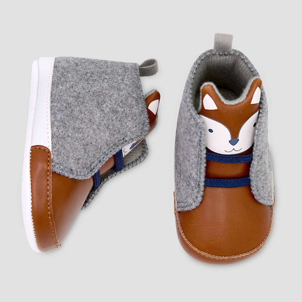 Image of Baby Boys' Fox Sneaker Crib Shoes - Just One You made by carter's 3-6M, Boy's, Size: Small, MultiColored