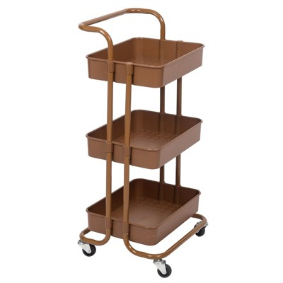 Pemberly Row 3 Tier Mobile Storage Caddy in Caramel