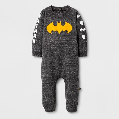 Warner Bros. Baby Boys' Long Sleeve Batman Long Romper - Charcoal Heather 6-9M