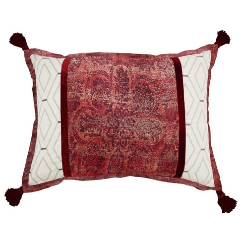 Red Damask Fresco Flourish Throw Pillow Waverly
