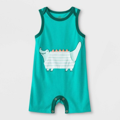 Baby Boys' Alligator Pocket Romper - Cat & Jack™ Tropical Green