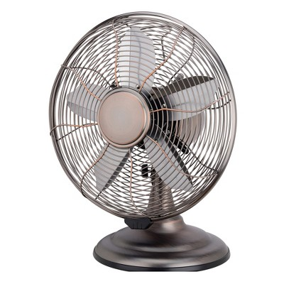 Optimus F-6212 Powerful 3 Speed 12 Inch Whisper Quiet Portable Vintage Retro 90 Degree Oscillating Table Desk Fan, Bronze