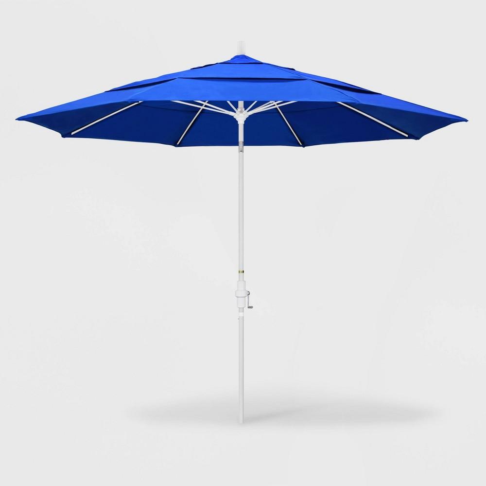 Image of 11' Sun Master Patio Umbrella Collar Tilt Crank Lift - Sunbrella Pacific Blue - California Umbrella