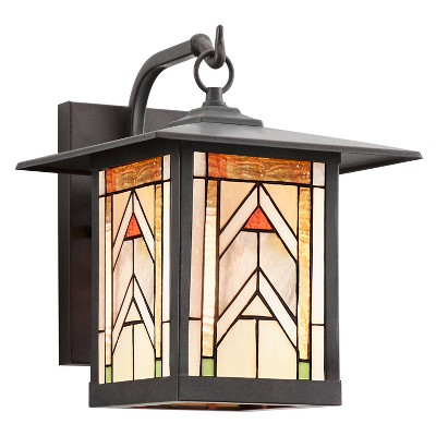 """11.75"""" 1-Light Geometric Outdoor Wall Lantern Sconce Oil Rubbed Bronze - River of Goods"""