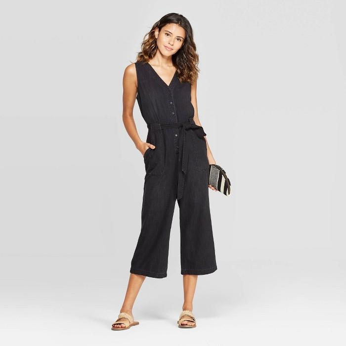 Women's Sleeveless Denim Button Front Jumpsuit - Universal Thread™ Black - image 1 of 3