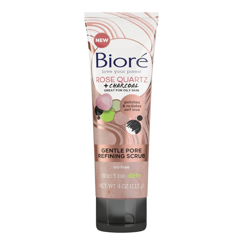 Biore Rose Quartz Charcoal Gentle Pore Refining Scrub 4oz