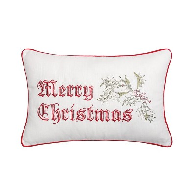"""C&F Home 14"""" x 22"""" Wenham Holly Merry Christmas Embroidered Pillow"""