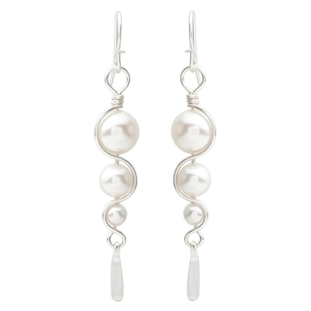 Women's Journee Collection Swirl Drop Earrings in Sterling Silver - White
