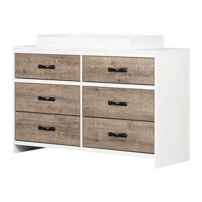 Hankel Changing Table - Pure White and Weathered Oak - South Shore
