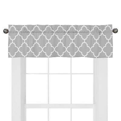 Sweet Jojo Designs Gray & White Trellis Window Valance - Gray