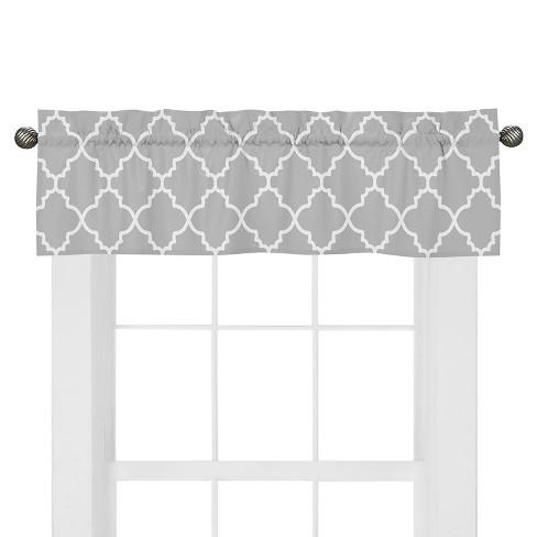 Sweet Jojo Designs Gray & White Trellis Window Valance - Gray - image 1 of 1