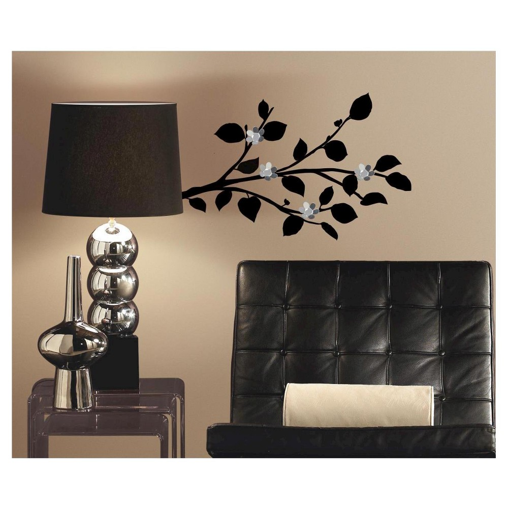 RoomMates Modern Realistic Branch Peel and Stick Wall Decals with Bendable Flower Mirrors, Multi-Colored