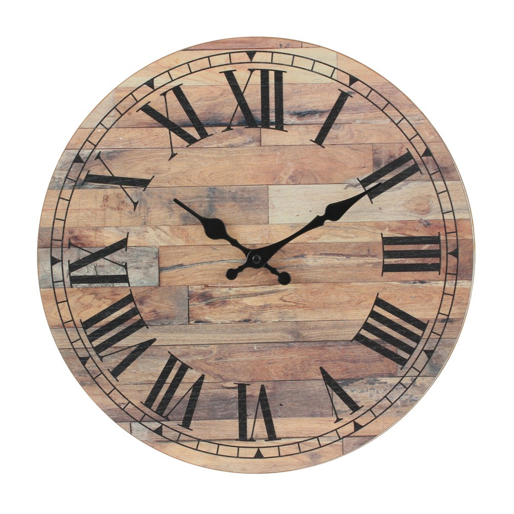Image of Roman Numeral Wooden Wall Clock 14 x 14 - Stonebriar Collection