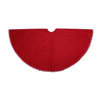 "Northlight 26"" Red with White Shell Stitching Mini Christmas Tree Skirt"