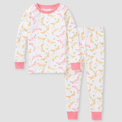 Burt's Bees Baby® Toddler Girls' 2pc Dragonfly Snug Fit Pajama Set - Pink