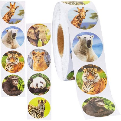 Zoo Animal Sticker Roll (1000 Count), 1.5 inches
