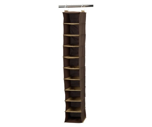 Household Essentials 10 Pocket Wide Organizer Brown - image 1 of 2