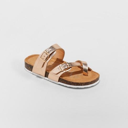 9822822bee4a Girls  Mad Love Flynn Comfort Footbed Sandals - Rose Gold   Target