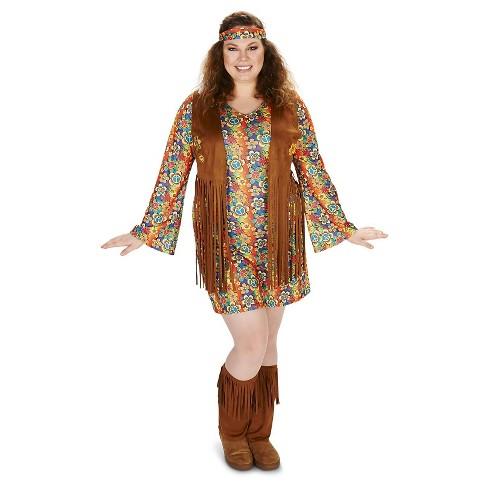 Women\'s Plus Size 60\'s Hippie with Fringe Costume 1X