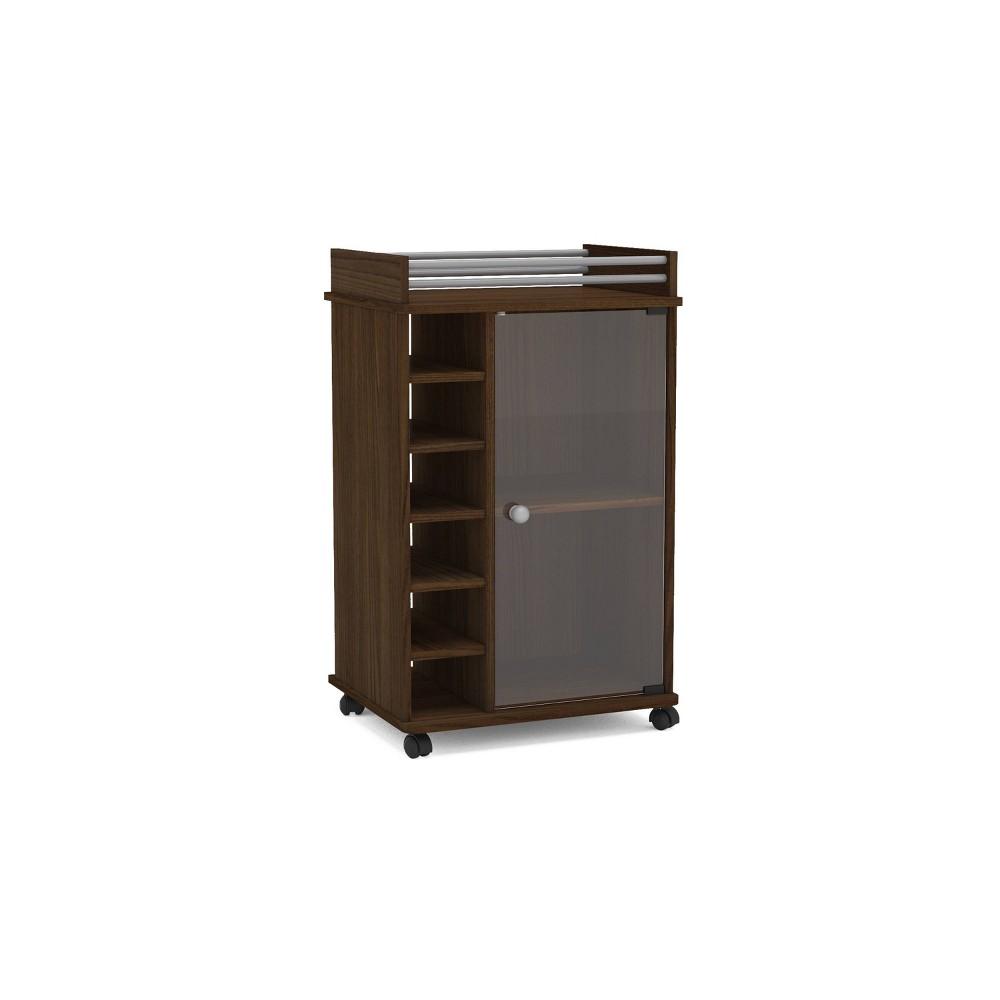 Image of Newport Bar Cabinet w/Glass Door Dark Brown - Chique
