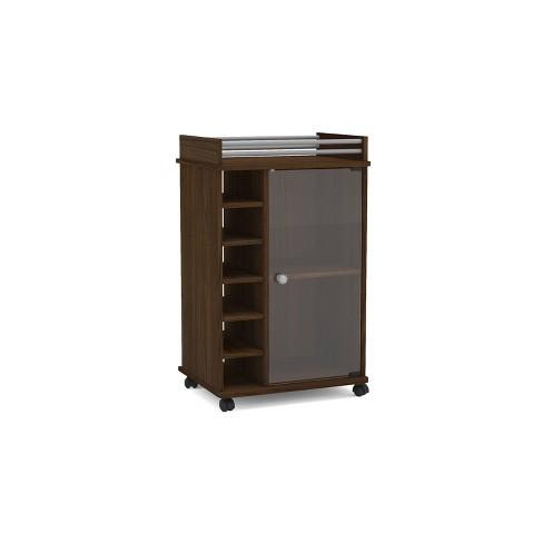 Newport Bar Cabinet W Glass Door Dark Brown Chique