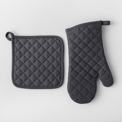 Solid Pot Holder & Oven Mitt Set Dark Gray - Made By Design™