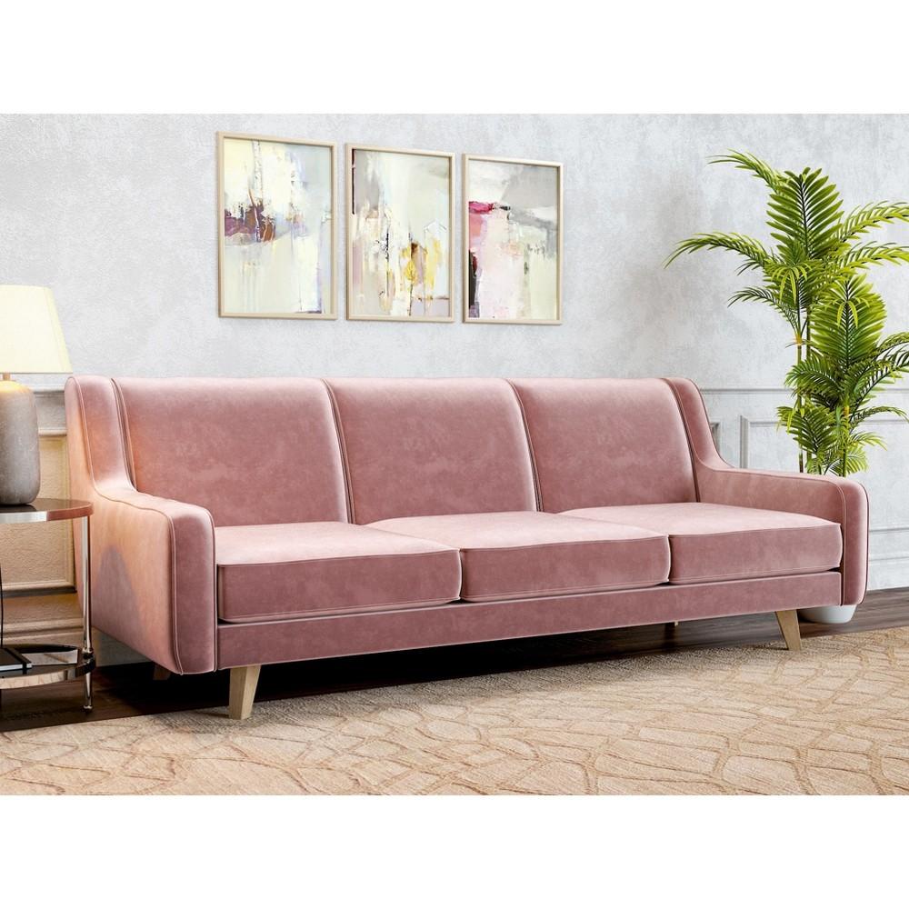 Image of Hazel Modern Velvet Sofa Blush Pink - AF Lifestlye