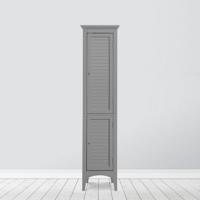 Slone Two Door Shuttered Linen Cabinet Gray - Elegant Home Fashions
